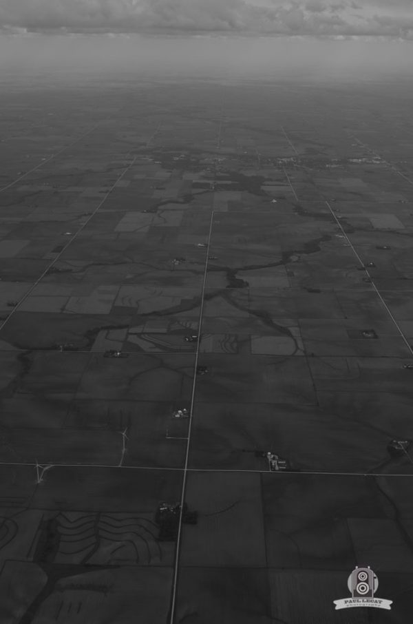 USA roads from sky Black and White