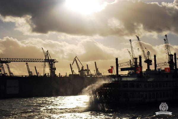Hamburg harbor and boat